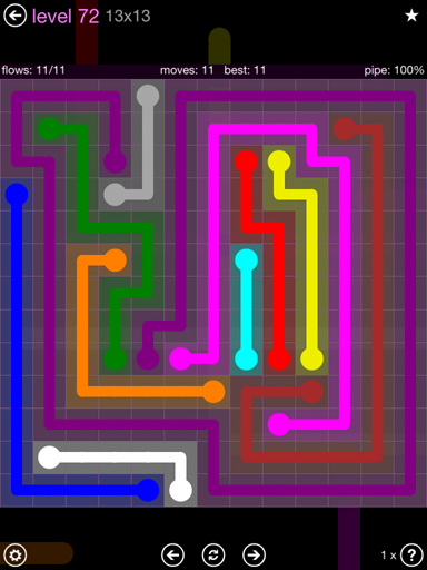 Solution and Answer to the Puzzle for Flow 13mania Pack Set 13x13 Level 72