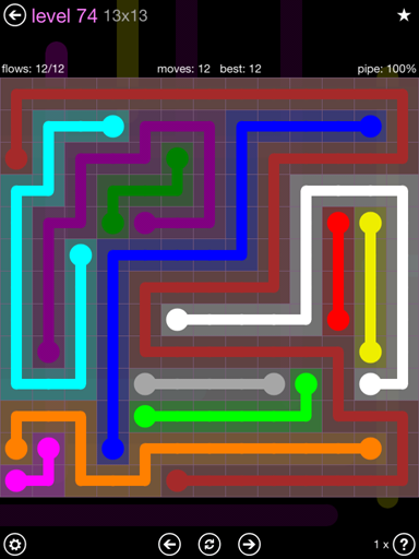 Solution and Answer to the Puzzle for Flow 13mania Pack Set 13x13 Level 74