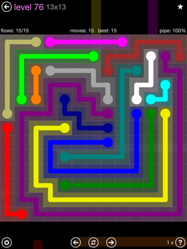 Solution and Answer to the Puzzle for Flow 13mania Pack Set 13x13 Level 76
