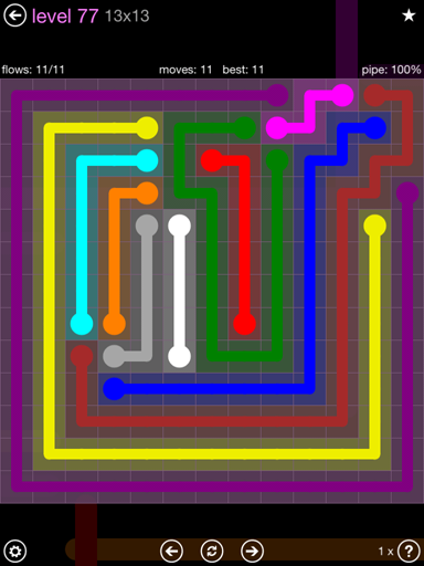 Solution and Answer to the Puzzle for Flow 13mania Pack Set 13x13 Level 77