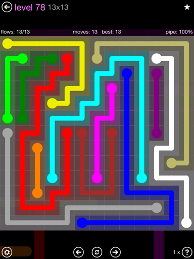 Solution and Answer to the Puzzle for Flow 13mania Pack Set 13x13 Level 78