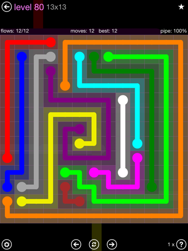 Solution and Answer to the Puzzle for Flow 13mania Pack Set 13x13 Level 80