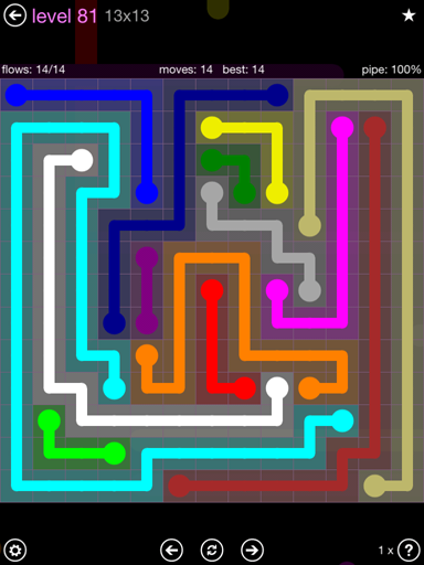 Solution and Answer to the Puzzle for Flow 13mania Pack Set 13x13 Level 81