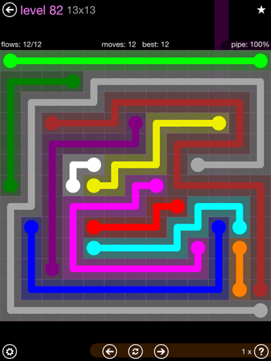 Solution and Answer to the Puzzle for Flow 13mania Pack Set 13x13 Level 82