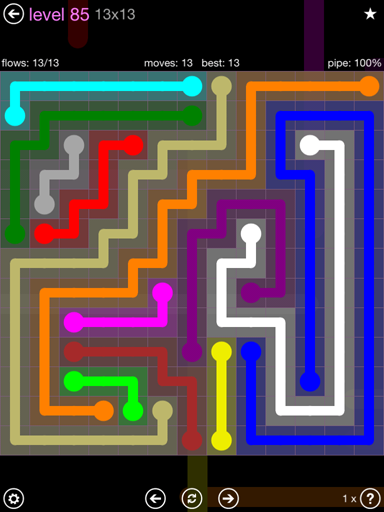Solution and Answer to the Puzzle for Flow 13mania Pack Set 13x13 Level 85