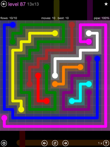 Solution and Answer to the Puzzle for Flow 13mania Pack Set 13x13 Level 87