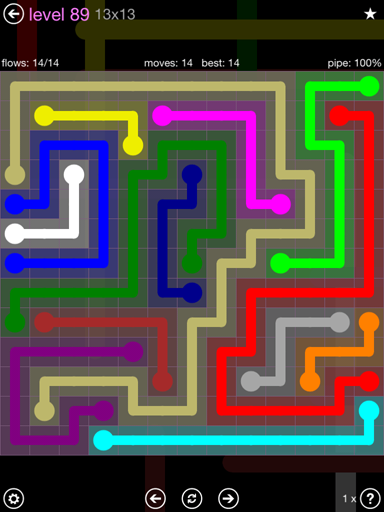 Solution and Answer to the Puzzle for Flow 13mania Pack Set 13x13 Level 89