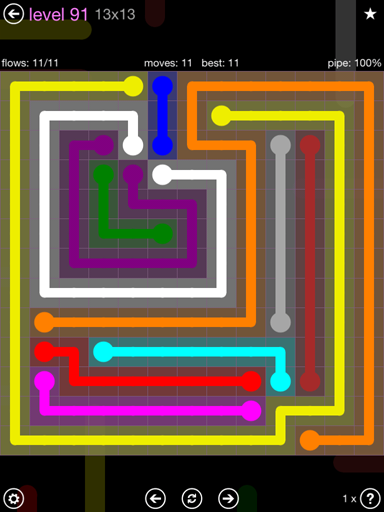 Solution and Answer to the Puzzle for Flow 13mania Pack Set 13x13 Level 91