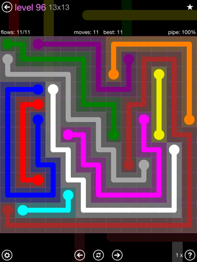 Solution and Answer to the Puzzle for Flow 13mania Pack Set 13x13 Level 96
