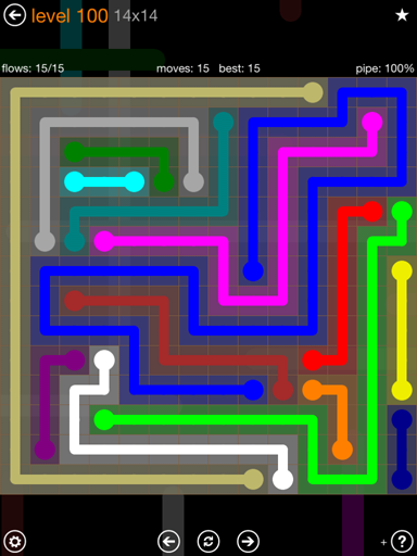 Solution and Answer to the Puzzle for Flow 14mania Pack Set 14x14 Level 100