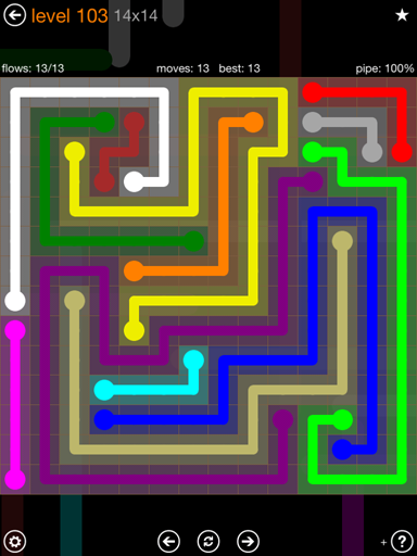 Solution and Answer to the Puzzle for Flow 14mania Pack Set 14x14 Level 103