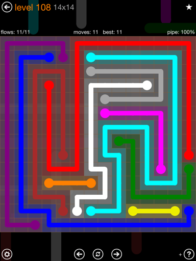 Solution and Answer to the Puzzle for Flow 14mania Pack Set 14x14 Level 108