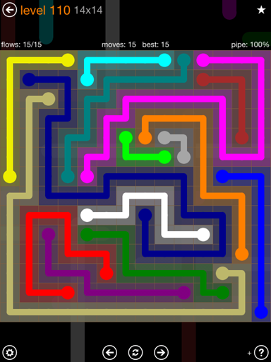 Solution and Answer to the Puzzle for Flow 14mania Pack Set 14x14 Level 110