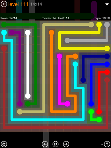 Solution and Answer to the Puzzle for Flow 14mania Pack Set 14x14 Level 111