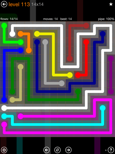 Solution and Answer to the Puzzle for Flow 14mania Pack Set 14x14 Level 113
