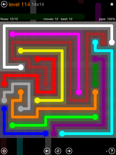 Solution and Answer to the Puzzle for Flow 14mania Pack Set 14x14 Level 114