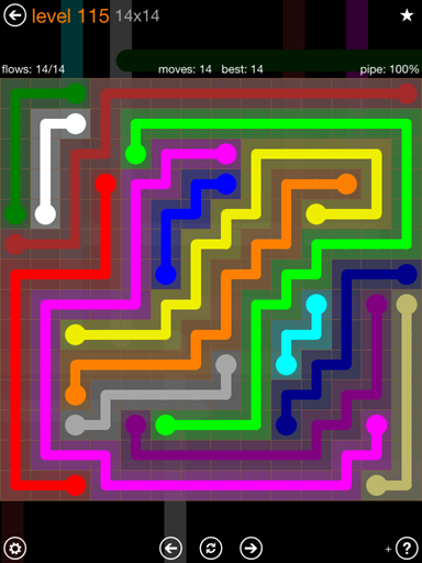 Solution and Answer to the Puzzle for Flow 14mania Pack Set 14x14 Level 115