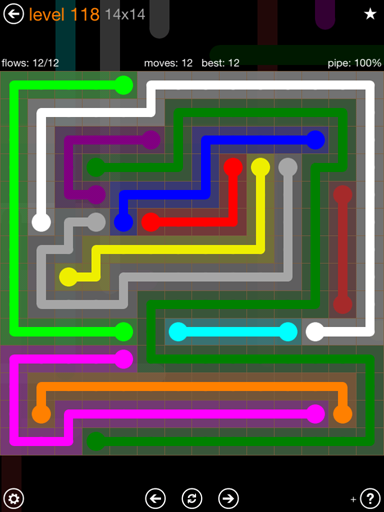 Solution and Answer to the Puzzle for Flow 14mania Pack Set 14x14 Level 118