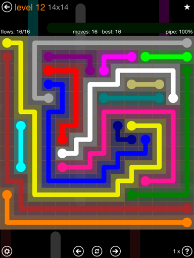 Solution and Answer to the Puzzle for Flow 14mania Pack Set 14x14 Level 12