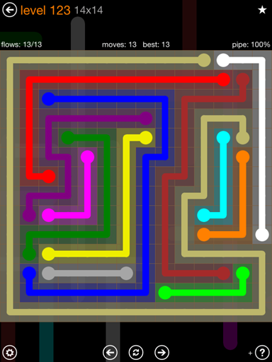 Solution and Answer to the Puzzle for Flow 14mania Pack Set 14x14 Level 123
