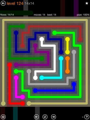 Solution and Answer to the Puzzle for Flow 14mania Pack Set 14x14 Level 124