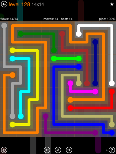 Solution and Answer to the Puzzle for Flow 14mania Pack Set 14x14 Level 128