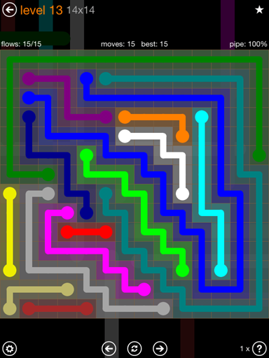 Solution and Answer to the Puzzle for Flow 14mania Pack Set 14x14 Level 13