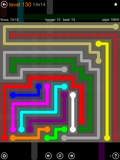 Solution and Answer to the Puzzle for Flow 14mania Pack Set 14x14 Level 130