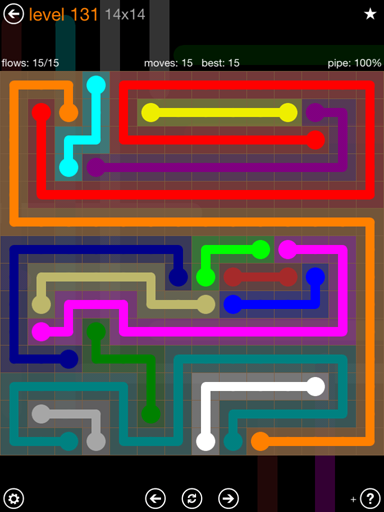 Solution and Answer to the Puzzle for Flow 14mania Pack Set 14x14 Level 131