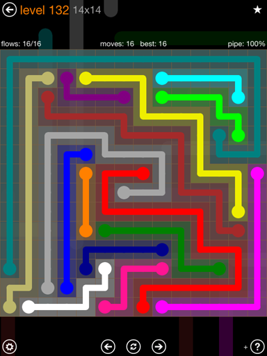 Solution and Answer to the Puzzle for Flow 14mania Pack Set 14x14 Level 132