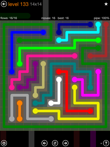 Solution and Answer to the Puzzle for Flow 14mania Pack Set 14x14 Level 133
