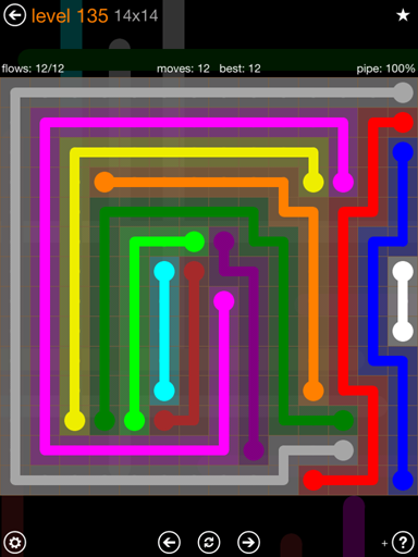 Solution and Answer to the Puzzle for Flow 14mania Pack Set 14x14 Level 135
