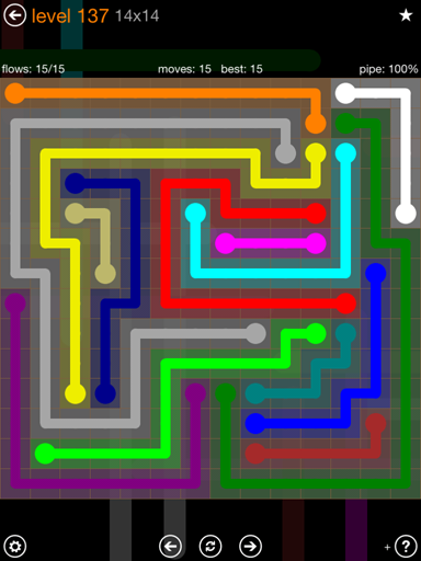 Solution and Answer to the Puzzle for Flow 14mania Pack Set 14x14 Level 137