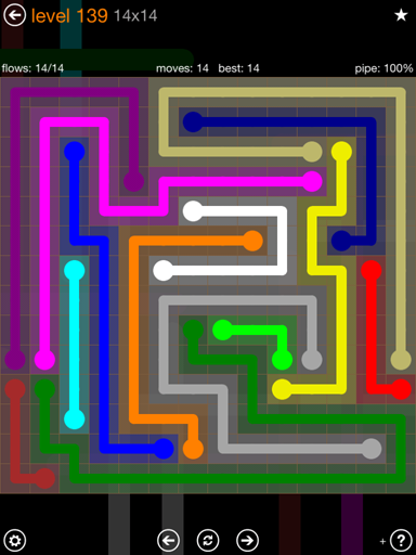 Solution and Answer to the Puzzle for Flow 14mania Pack Set 14x14 Level 139