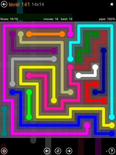 Solution and Answer to the Puzzle for Flow 14mania Pack Set 14x14 Level 141