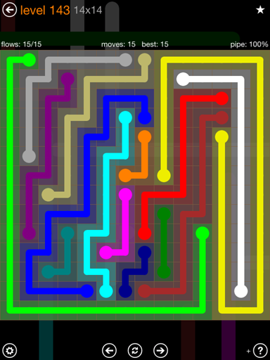 Solution and Answer to the Puzzle for Flow 14mania Pack Set 14x14 Level 143