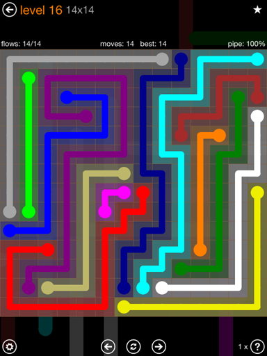 Solution and Answer to the Puzzle for Flow 14mania Pack Set 14x14 Level 16