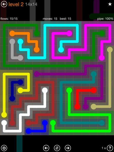 Solution and Answer to the Puzzle for Flow 14mania Pack Set 14x14 Level 2