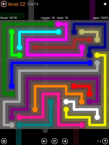 Solution and Answer to the Puzzle for Flow 14mania Pack Set 14x14 Level 22