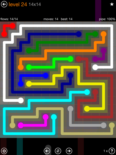 Solution and Answer to the Puzzle for Flow 14mania Pack Set 14x14 Level 24