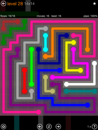 Solution and Answer to the Puzzle for Flow 14mania Pack Set 14x14 Level 28