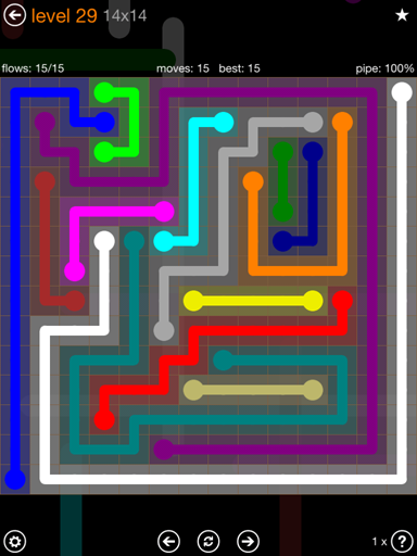 Solution and Answer to the Puzzle for Flow 14mania Pack Set 14x14 Level 29