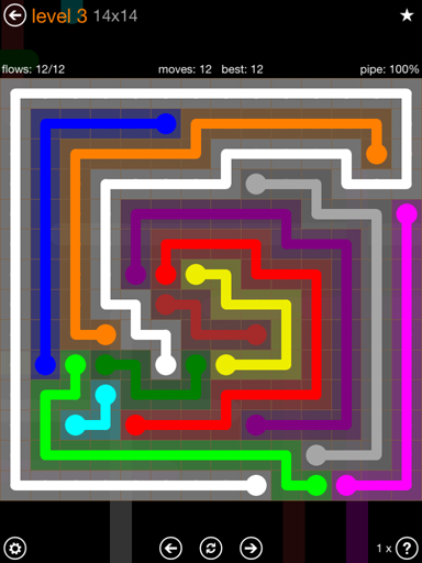 Solution and Answer to the Puzzle for Flow 14mania Pack Set 14x14 Level 3