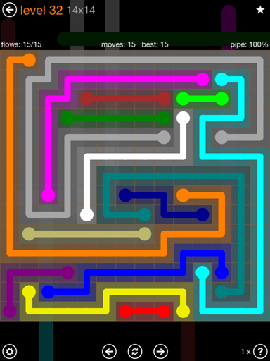 Solution and Answer to the Puzzle for Flow 14mania Pack Set 14x14 Level 32