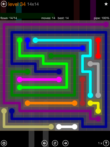 Solution and Answer to the Puzzle for Flow 14mania Pack Set 14x14 Level 34