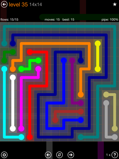 Solution and Answer to the Puzzle for Flow 14mania Pack Set 14x14 Level 35