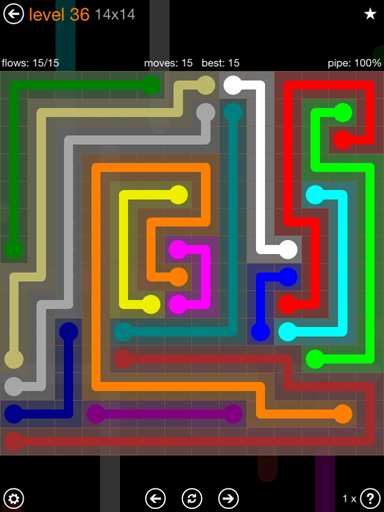 Solution and Answer to the Puzzle for Flow 14mania Pack Set 14x14 Level 36