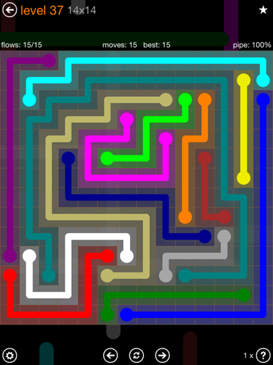 Solution and Answer to the Puzzle for Flow 14mania Pack Set 14x14 Level 37