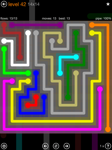 Solution and Answer to the Puzzle for Flow 14mania Pack Set 14x14 Level 42