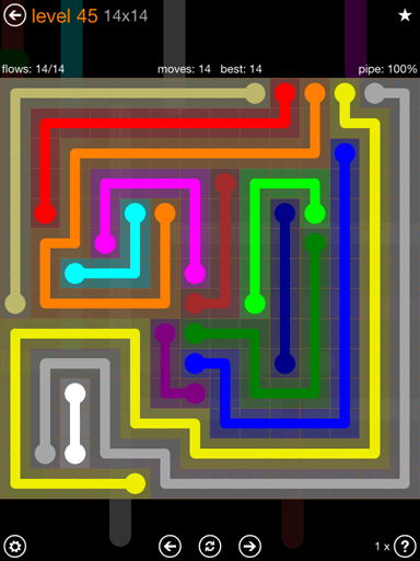 Solution and Answer to the Puzzle for Flow 14mania Pack Set 14x14 Level 45